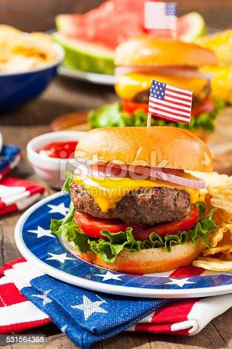 531564432 istock photo Homemade Memorial Day Hamburger Picnic 531564368