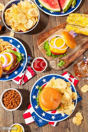 istock Homemade Memorial Day Hamburger Picnic 531564432