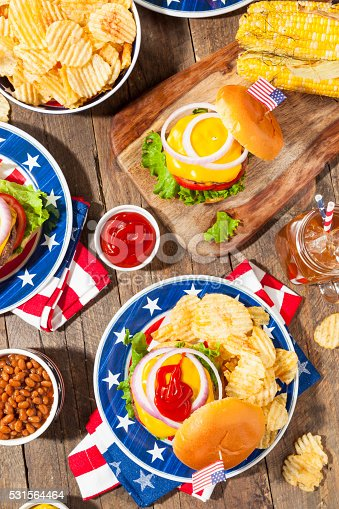 istock Homemade Memorial Day Hamburger Picnic 531564464