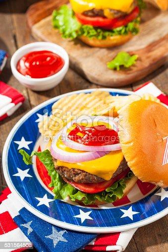 istock Homemade Memorial Day Hamburger Picnic 531564508