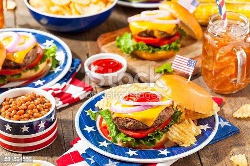 istock Homemade Memorial Day Hamburger Picnic 531564556