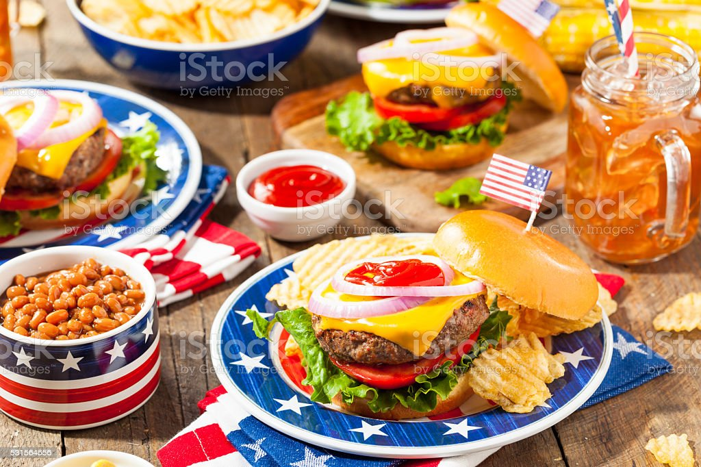 Homemade Memorial Day Hamburger Picnic stock photo