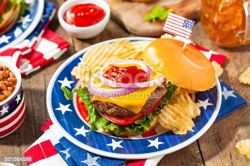 531564432 istock photo Homemade Memorial Day Hamburger Picnic 531564586