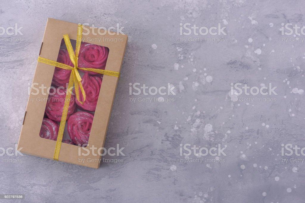 Homemade meringues in gift box stock photo