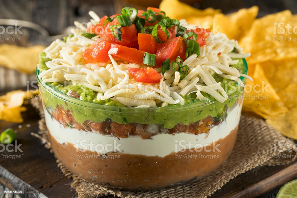 Homemade Mexican 7 Layer Dip stock photo