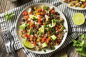 Homemade Mexican Baja Rice Bowl with Avocado and Salsa
