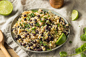 Homemade Mexican Black Beans and Rice with Cilantro