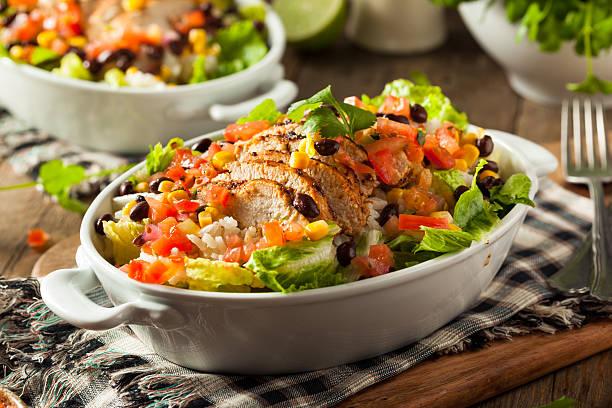 Homemade Mexican Chicken Burrito Bowl stock photo