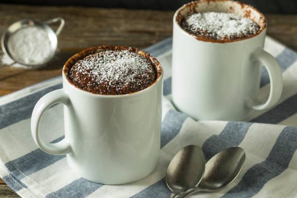 Homemade Microwave Chocolate Mug Brownies stock photo