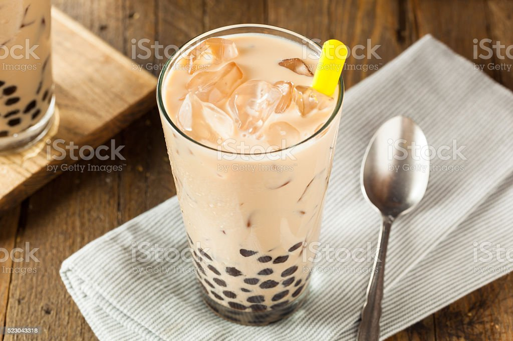 Homemade Milk Bubble Tea with Tapioca stock photo
