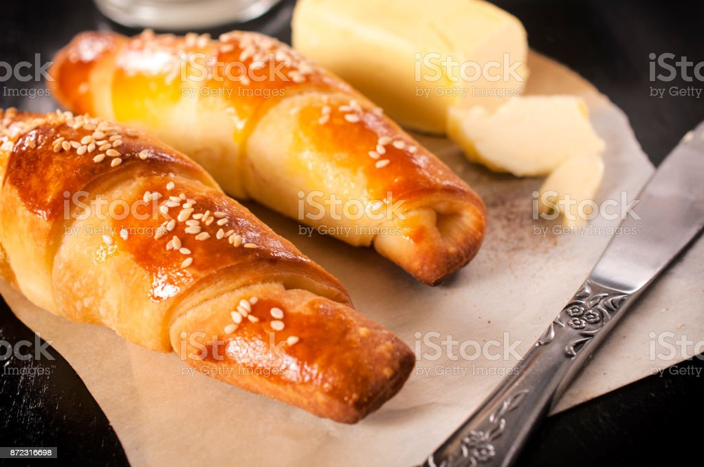 Homemade mini croissants stock photo