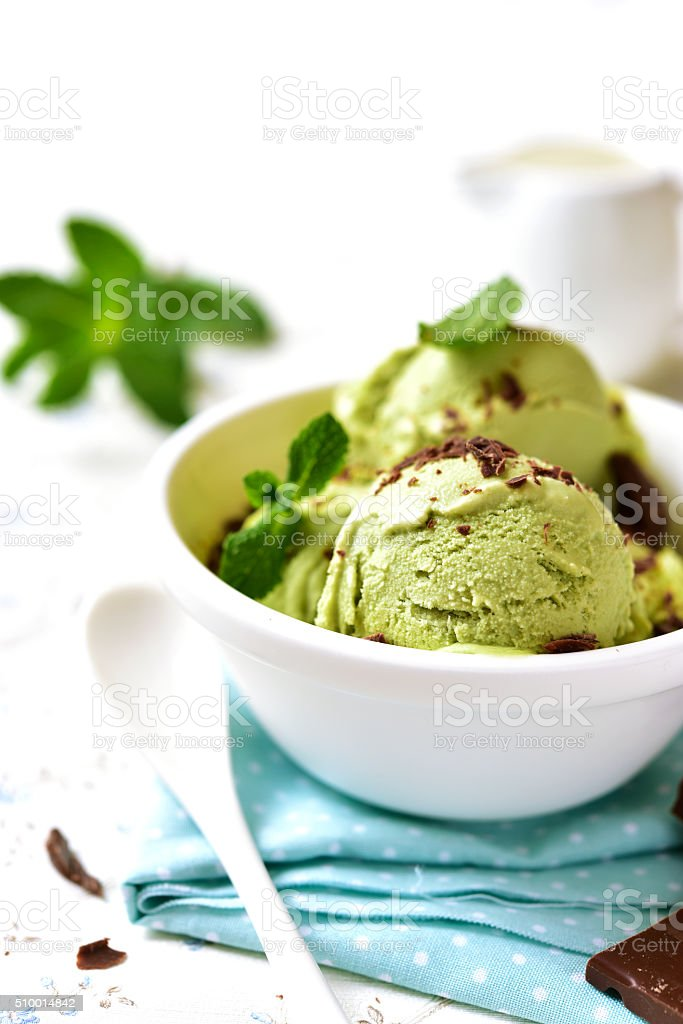 Homemade mint ice cream with chocolate chips. stock photo