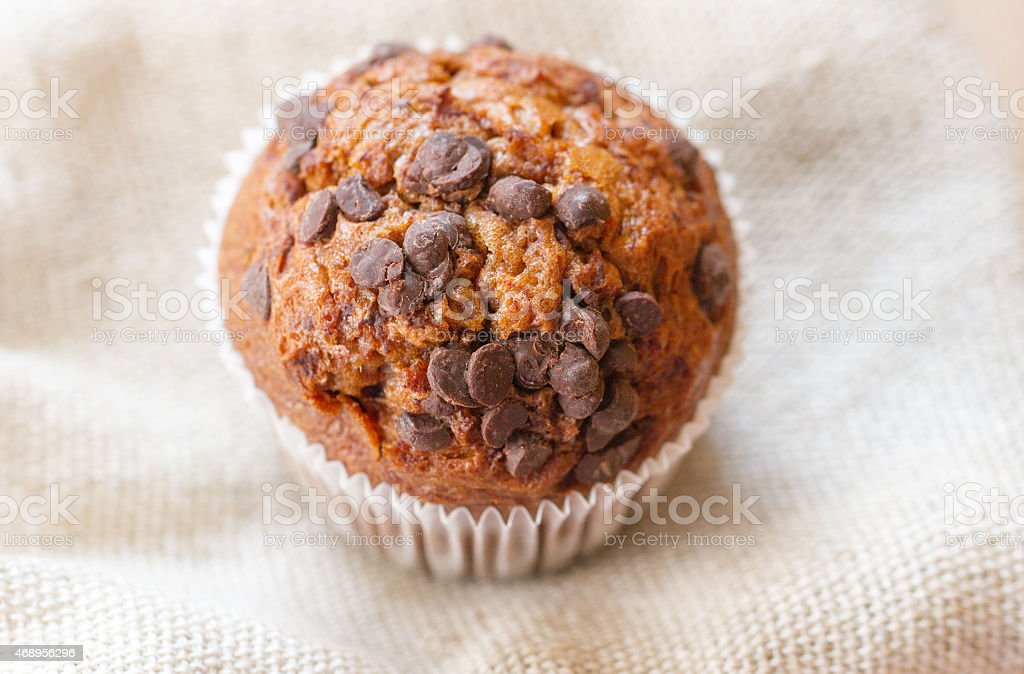 Homemade muffin with chocolate chips stock photo