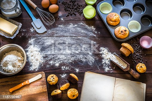 Top view of a frame made by muffins, ingredients and utensils to cook like flour, eggs, butter, chocolate chips, sugar, muffin tin, cookbook, cupcake holders, egg beater and a serving scoop with flour on rustic wooden table with flour spread on the table. Copy space at the center of the image. Predominant color is brown. Low key DSLR photo taken with Canon EOS 6D Mark II and Canon EF 24-105 mm f/4L