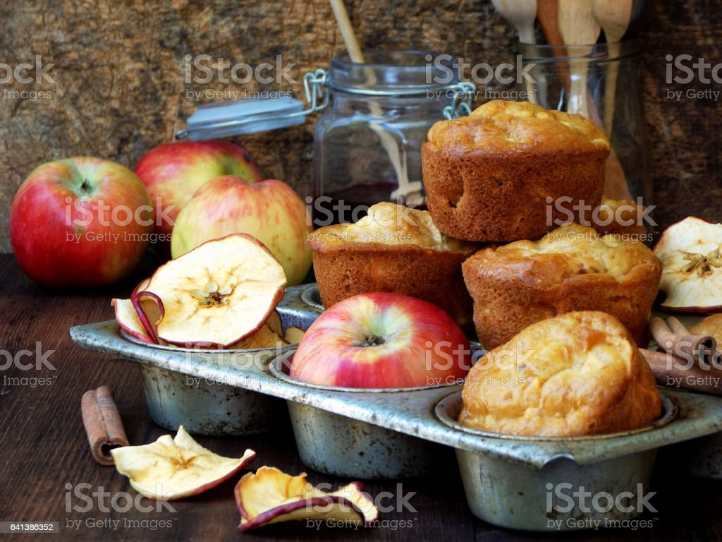 homemade muffins with apples and cinnamon. Photo Rustic. selective focus stock photo