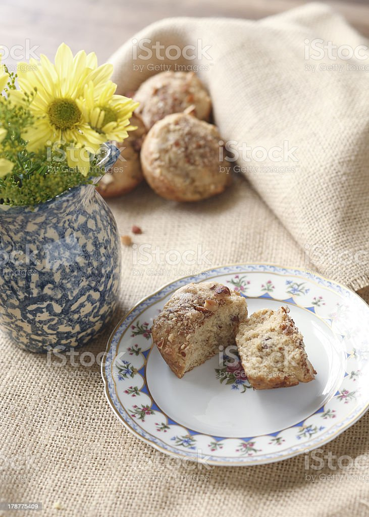 Homemade Muffins with Fresh Flowers stock photo