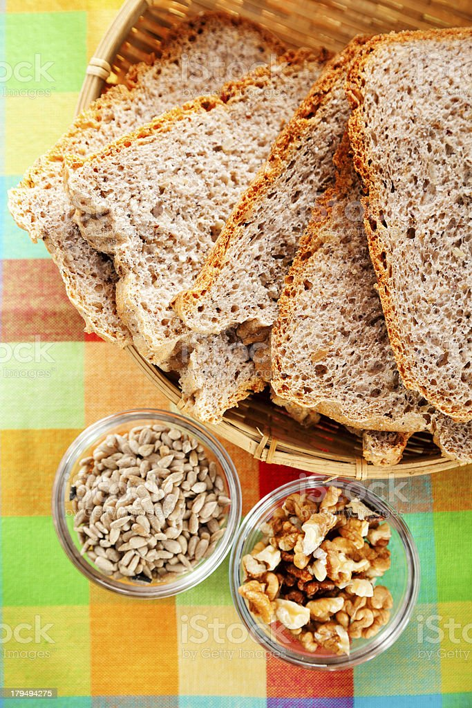 Homemade multiseed bread stock photo