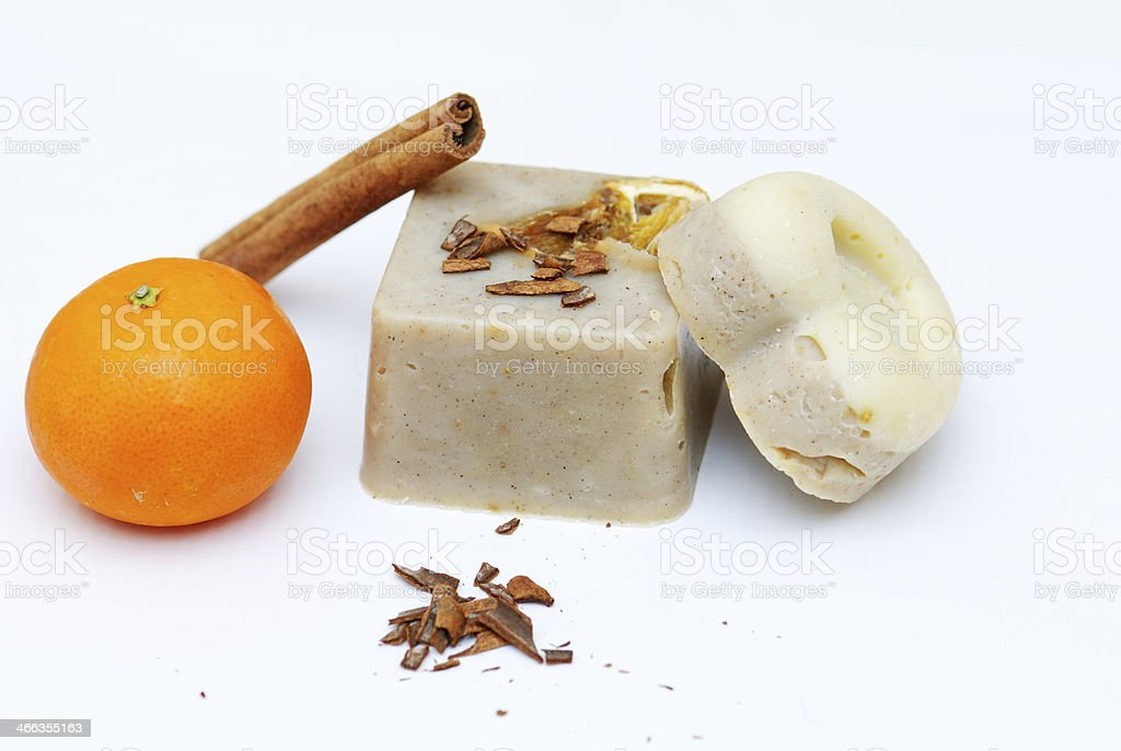 Homemade natural tangerine and cinnamon soap royalty-free stock photo