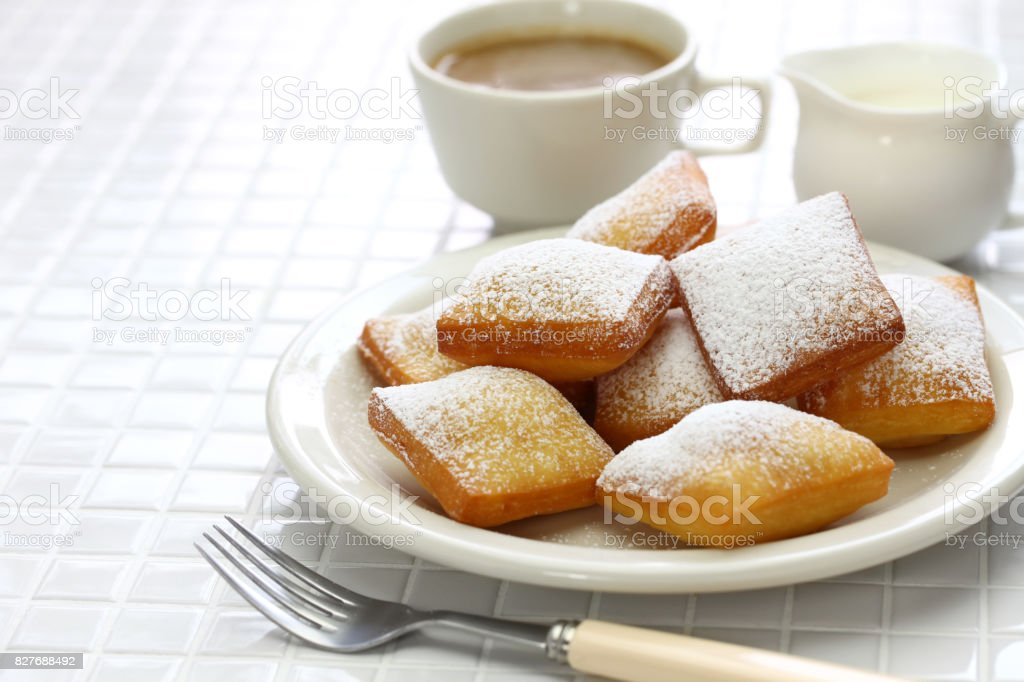 homemade new orleans beignet donuts stock photo