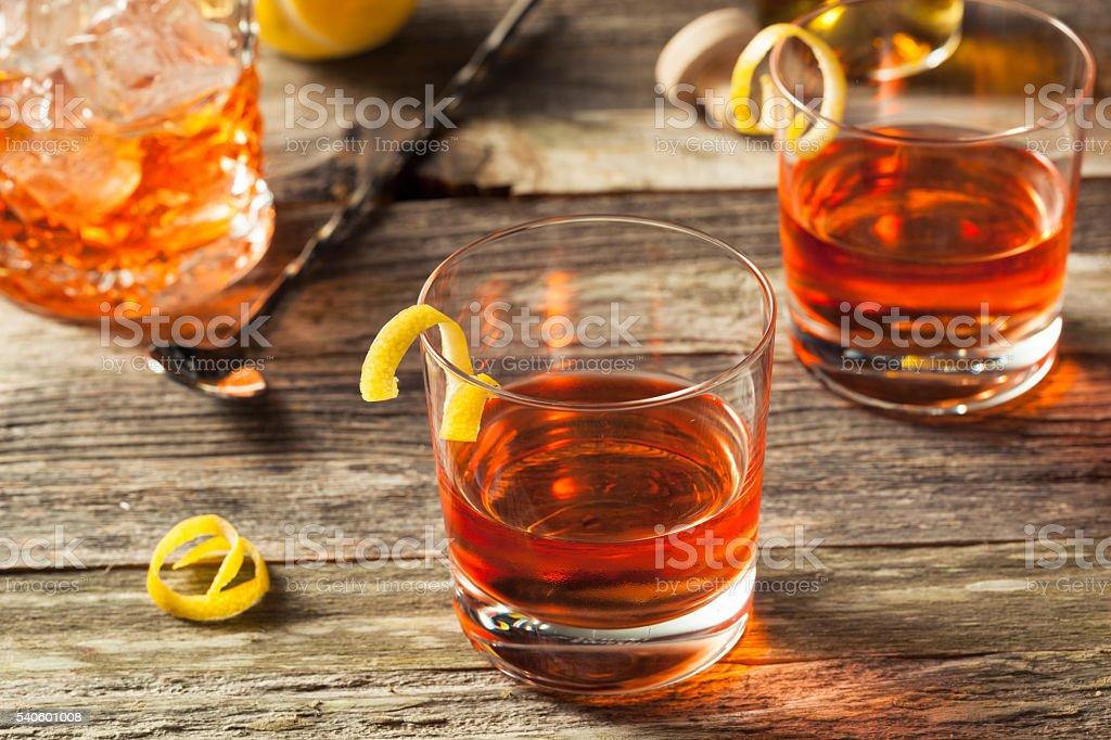 Homemade New Orleans Sazerac Cocktail stock photo