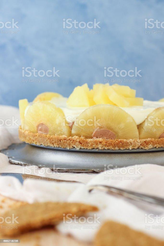 Homemade No Bake Pineapple Cake stock photo