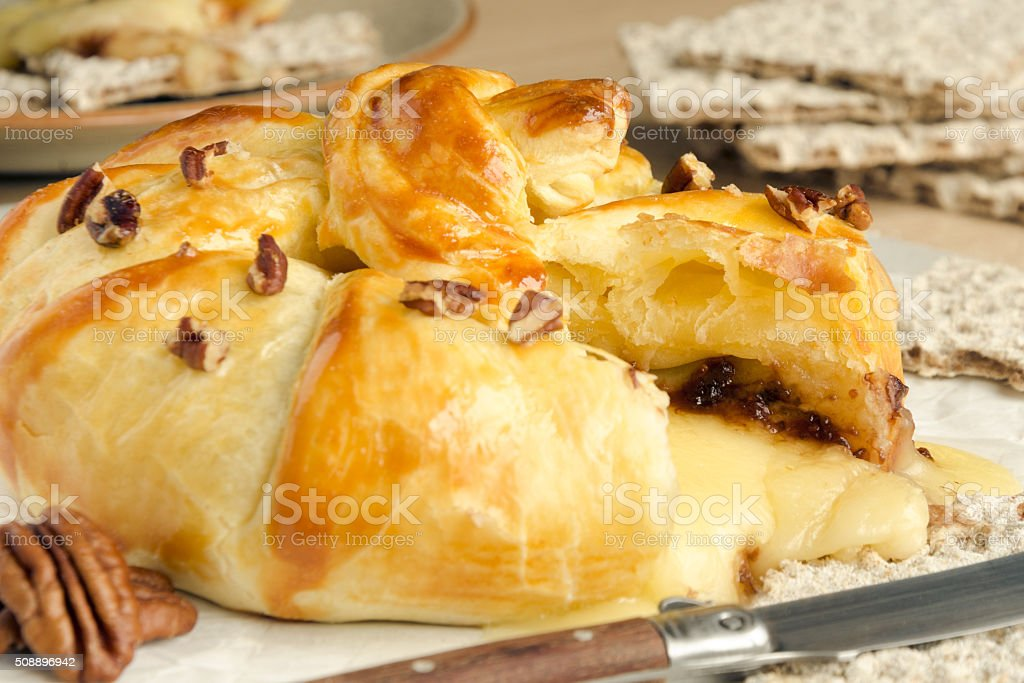 Homemade nutty baked brie stock photo