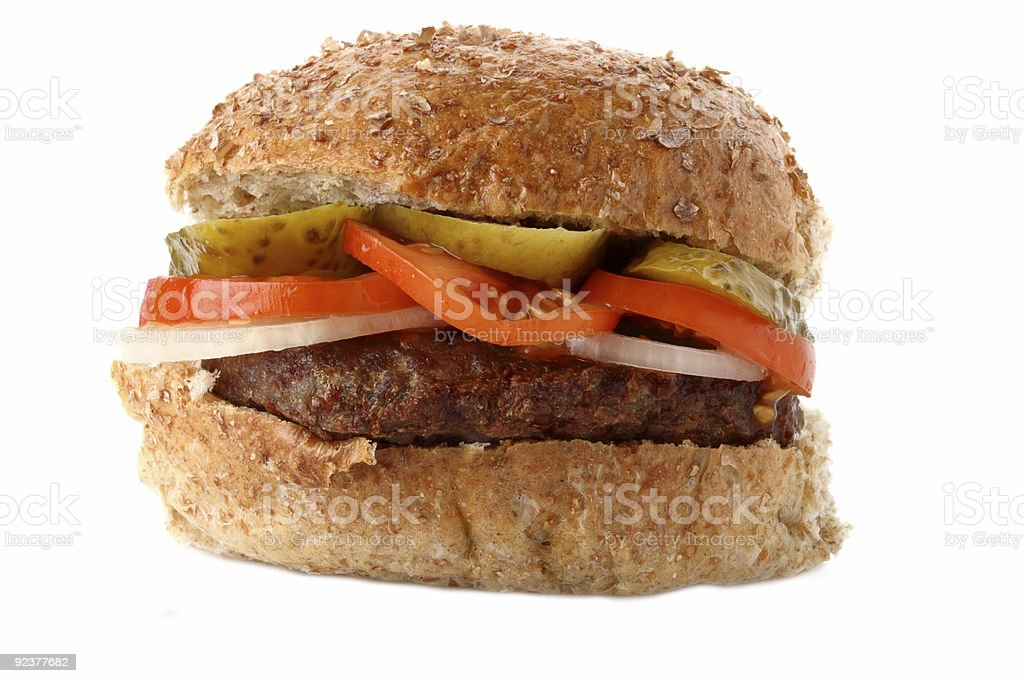 homemade oatmeal beef burger with onion tomatoes and gherkins royalty-free stock photo