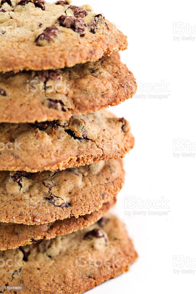 homemade oatmeal chocolate chip cookies (close up) royalty-free stock photo