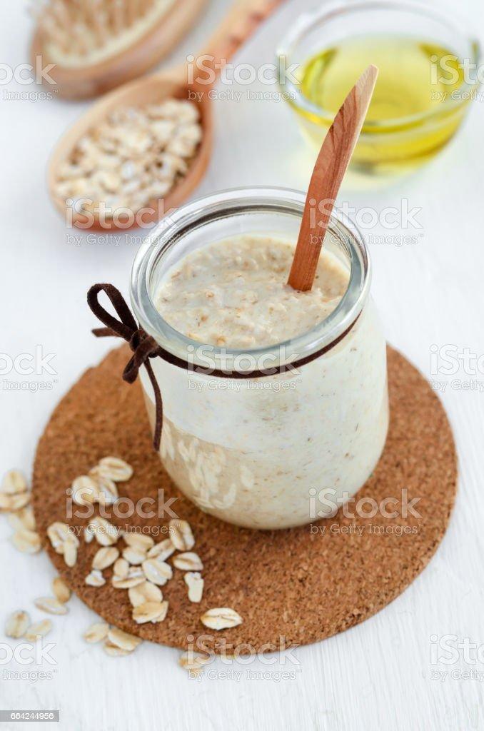 Homemade Oatmeal Mask In A Glass Jar Gentle Scrub For Sensitive
