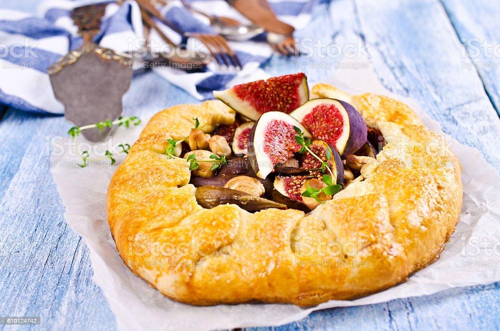 Homemade open pie stock photo