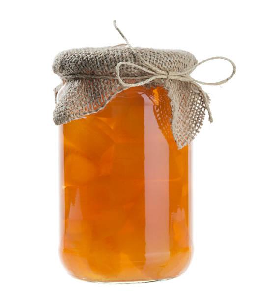 homemade orange jam isolated - jam jar imagens e fotografias de stock