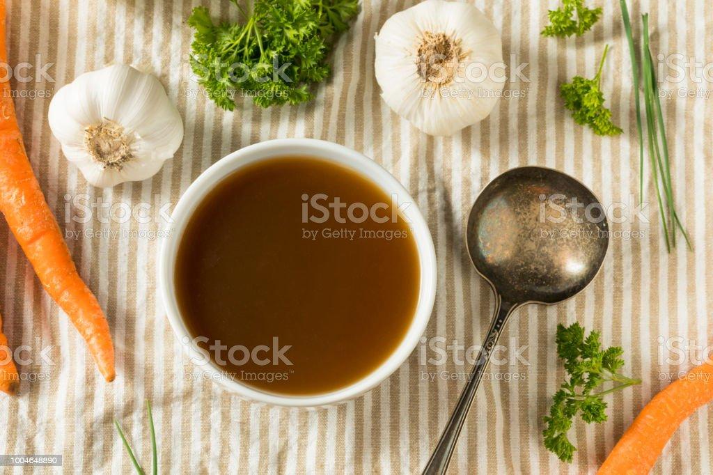 Homemade Organic Beef Bone Broth stock photo