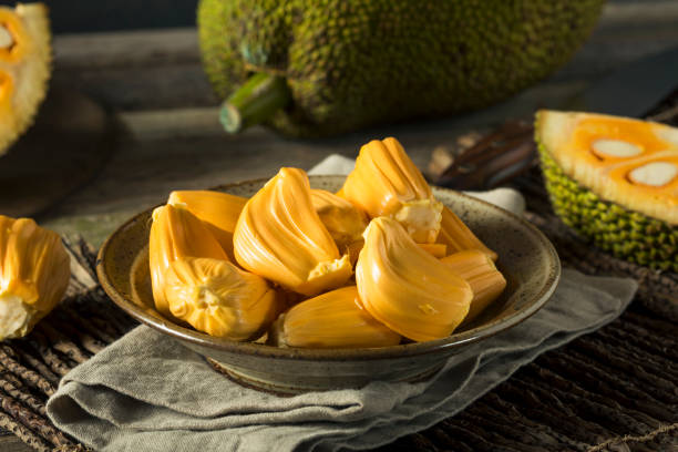 homemade organic fresh jackfruit - ripe stock photos and pictures