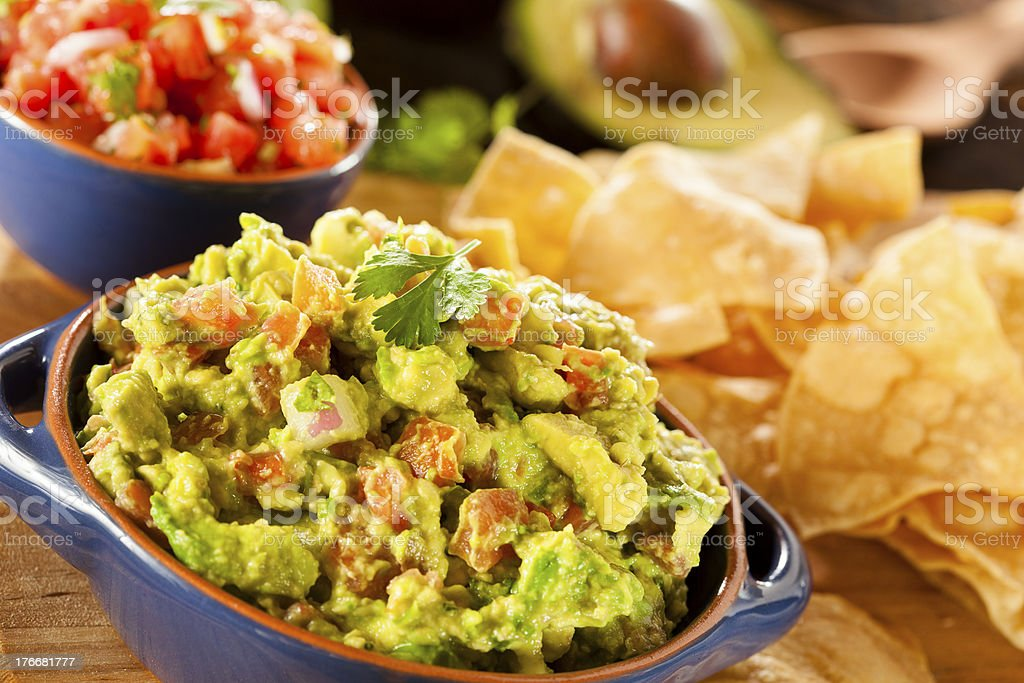 Homemade Organic Guacamole and Tortilla Chips royalty-free stock photo