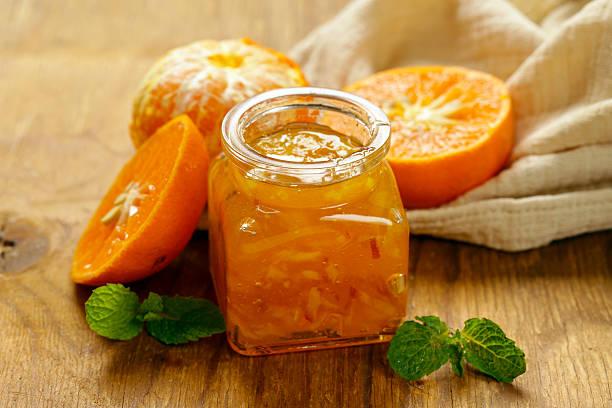 Homemade organic jam of citrus, orange, manadarin. stock photo