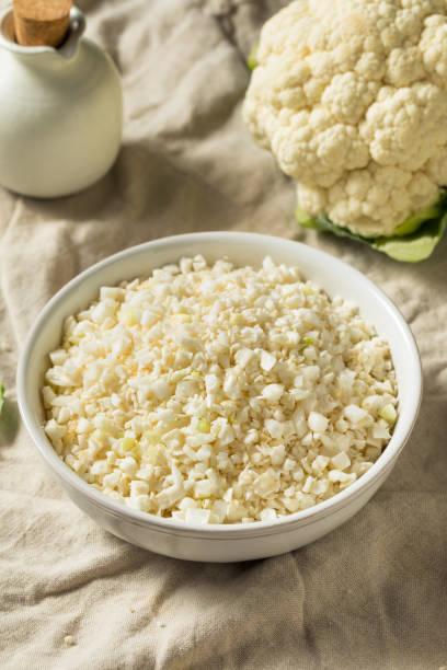 Homemade Organic Raw Cauliflower Rice stock photo
