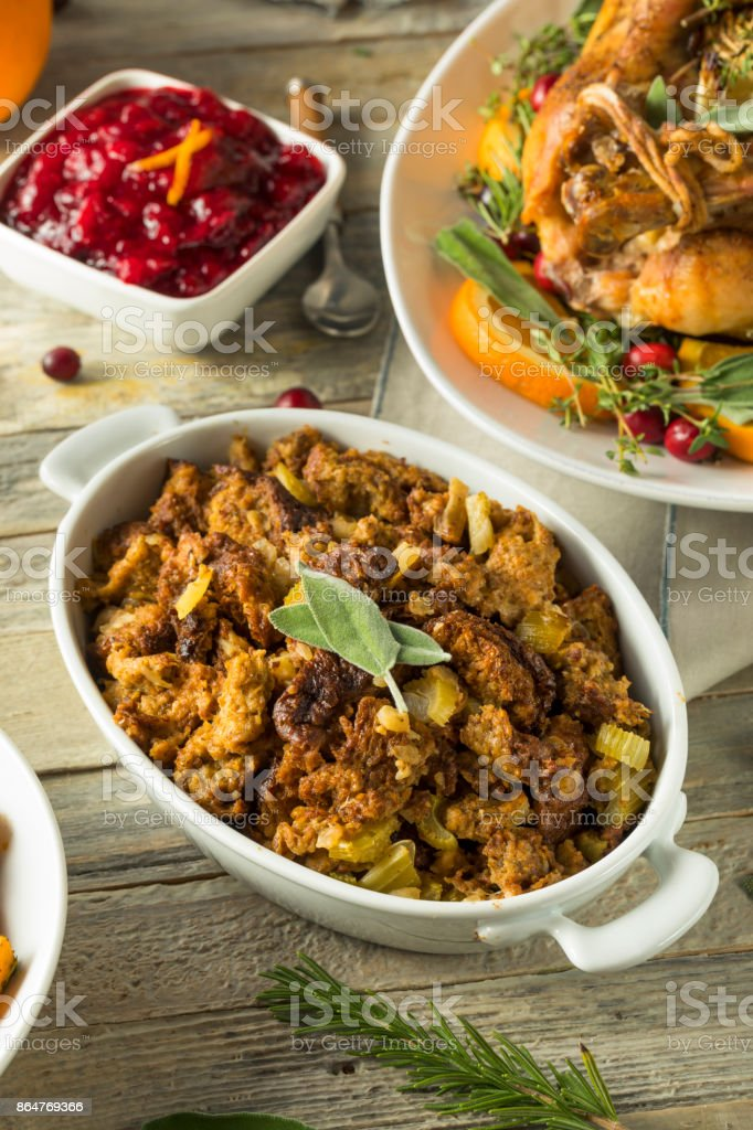 Homemade Organic Thanksgiving Stuffing stock photo
