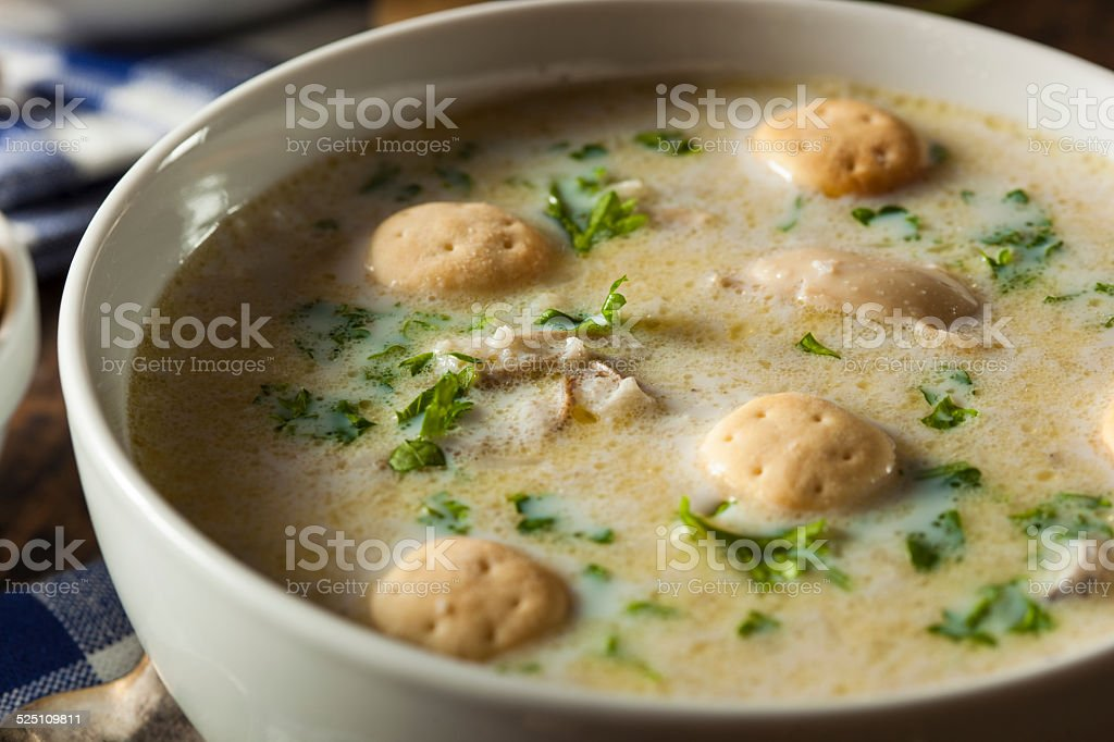 Homemade Oyster Stew with Parsley stock photo