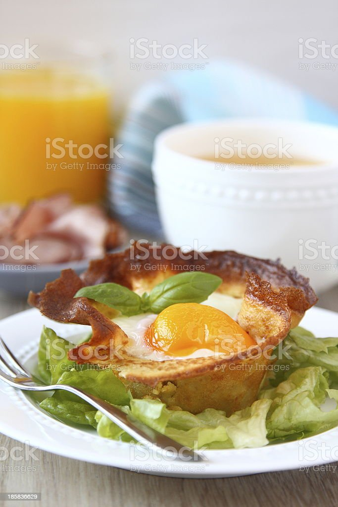 Homemade pancake baskets with egg and mushrooms royalty-free stock photo