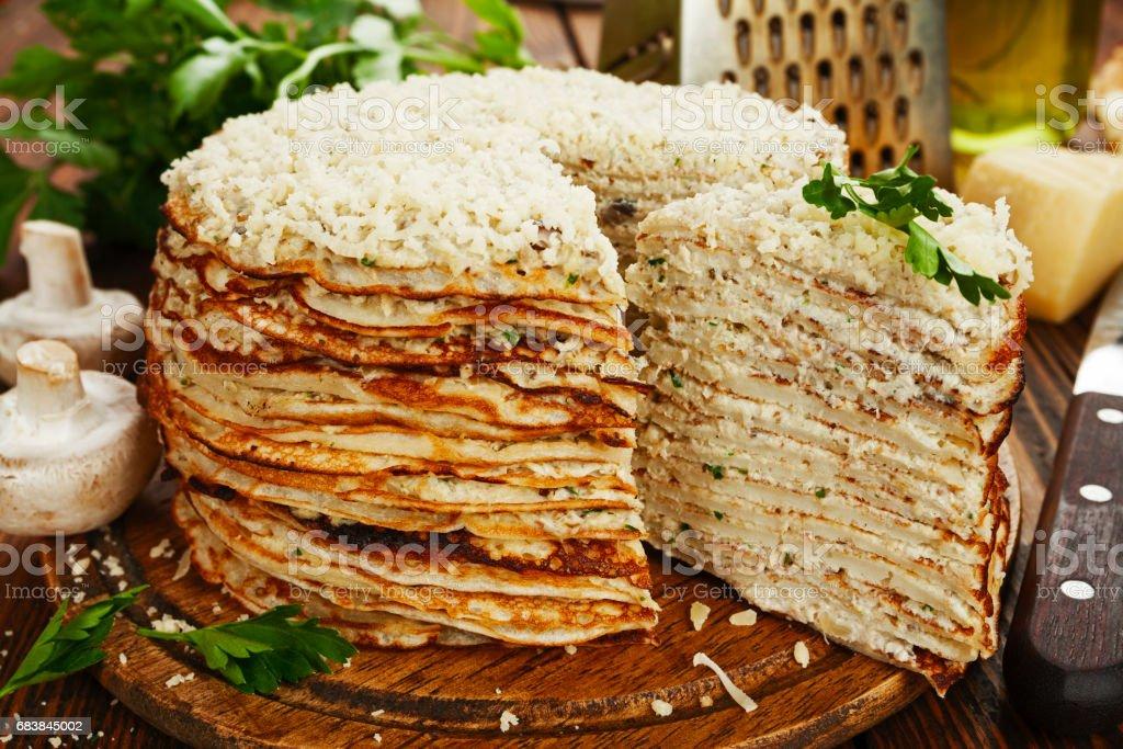 Homemade pancake pie stock photo