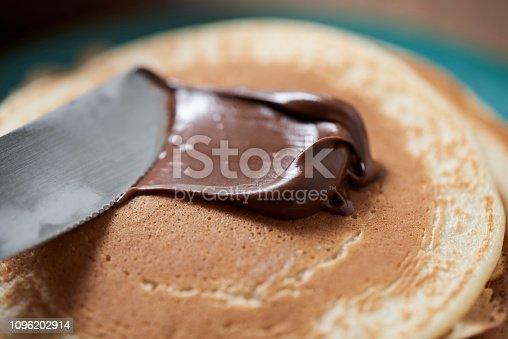 Homemade Pancakes With Chocolate Cream
