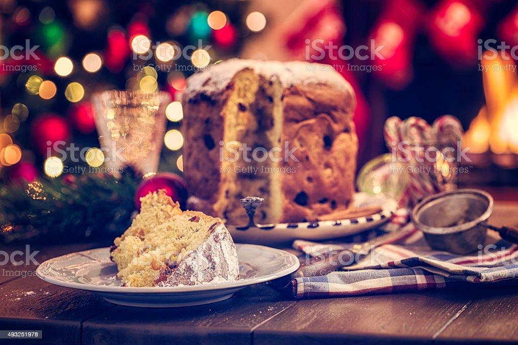 Homemade Panettone Christmas Cake with Powdered Sugar stock photo
