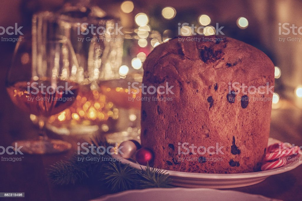 Homemade Panettone Christmas Cake with Powdered Sugar stock photo