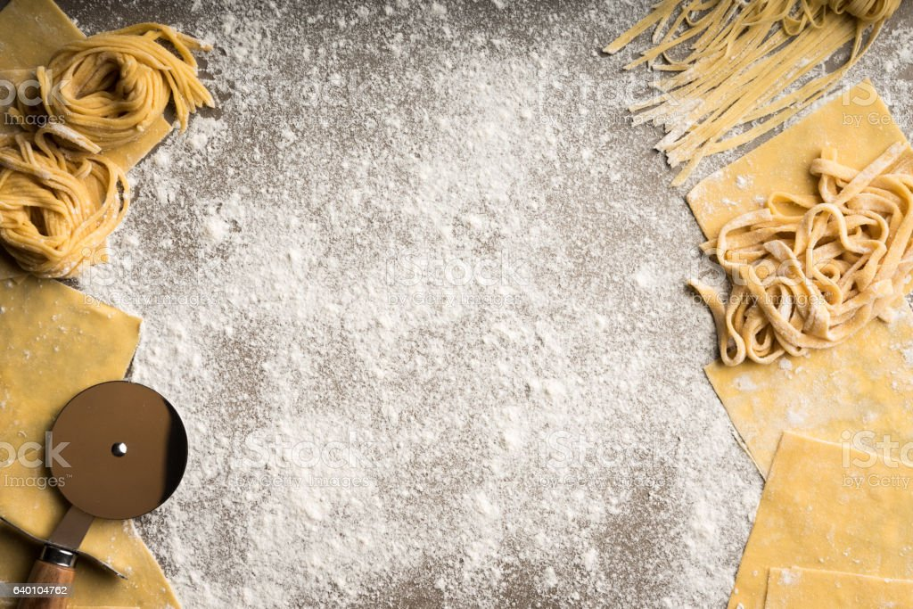 Homemade pasta background stock photo