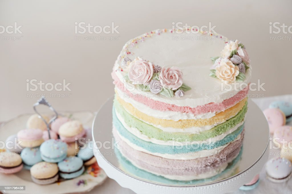 Fine Homemade Pastel Colorful Layered Birthday Cake And Macaroons Stock Birthday Cards Printable Nowaargucafe Filternl