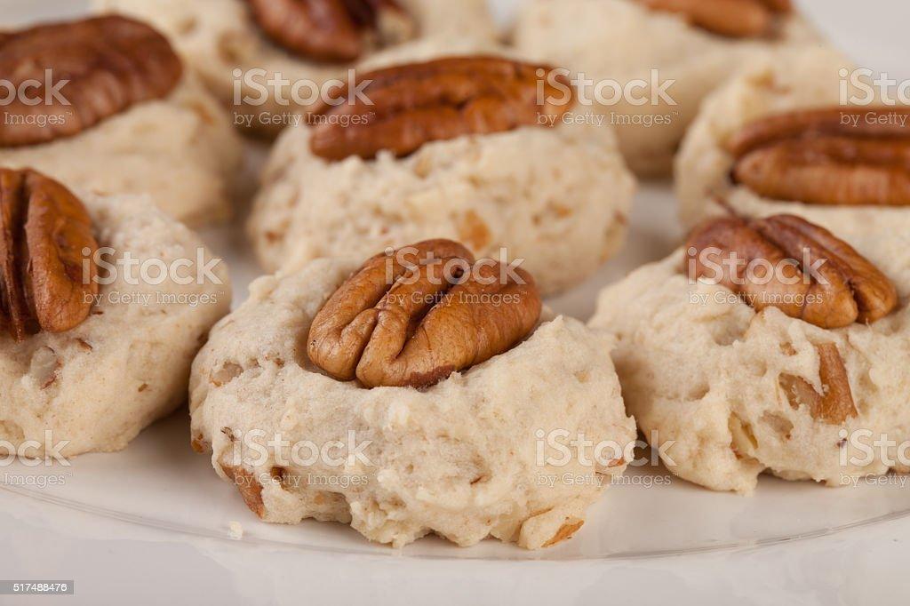 Homemade Pecan Cookies stock photo