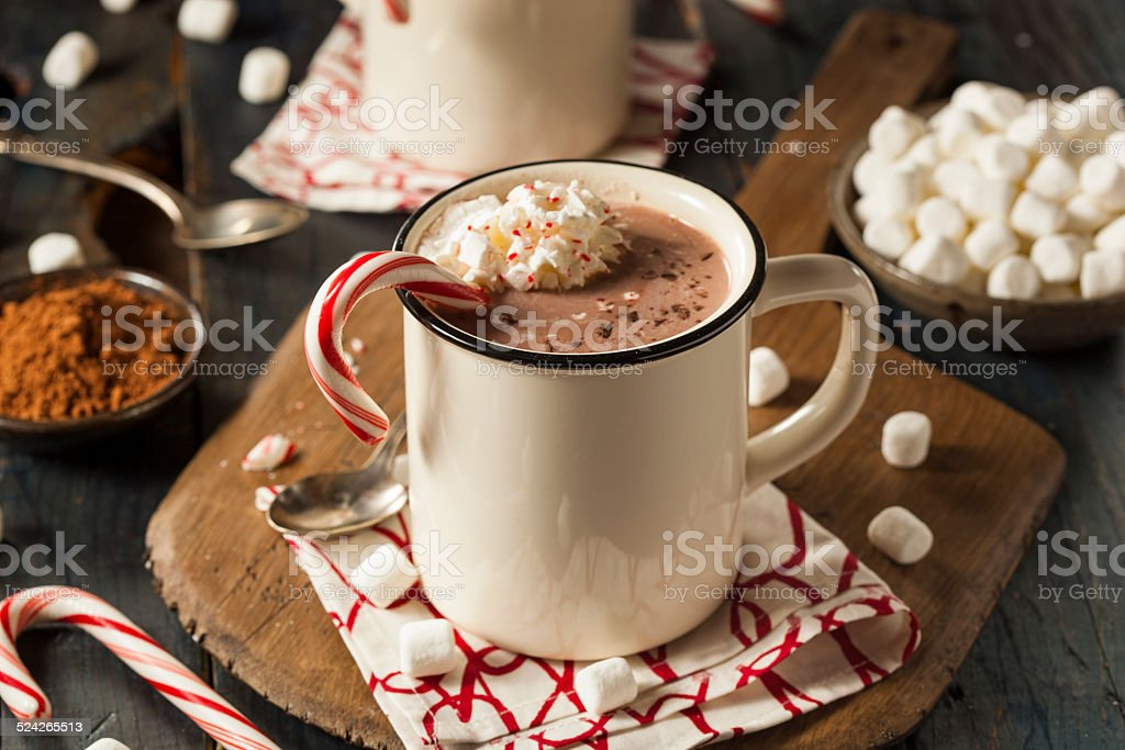 Homemade Peppermint Hot Chocolate - Royalty-free Alcohol Stockfoto
