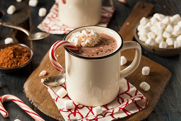 Homemade Peppermint Hot Chocolate Homemade Peppermint Hot Chocolate with Whipped Cream hot chocolate stock pictures, royalty-free photos & images