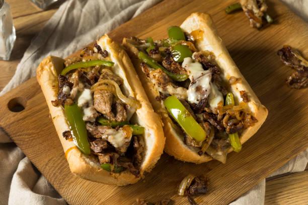 Homemade Philly Cheesesteak Sandwich stock photo