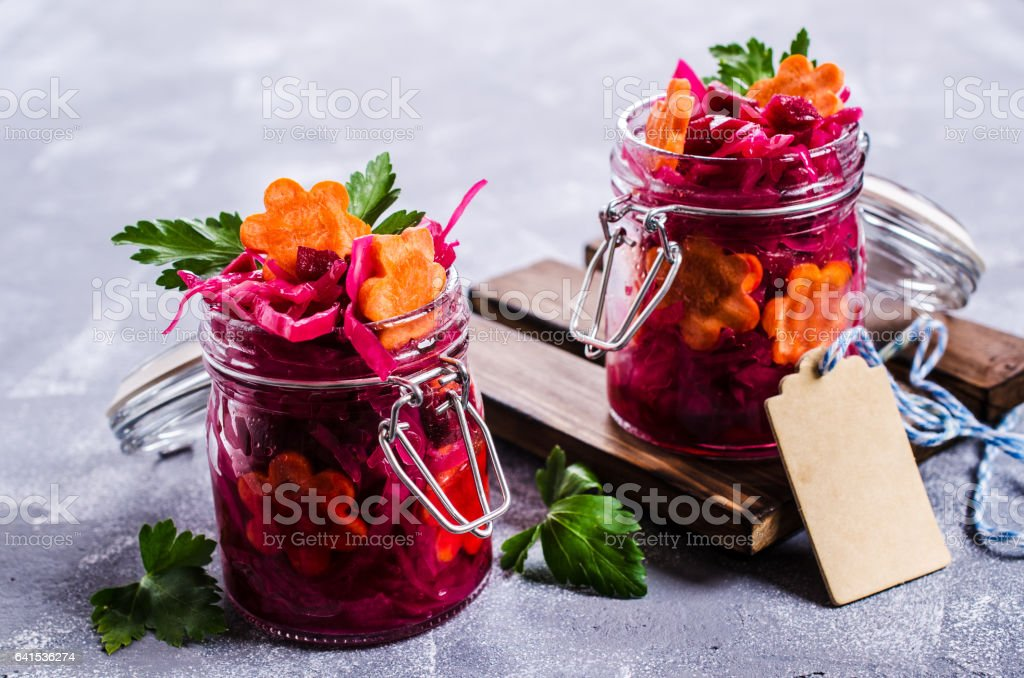 Homemade pickled vegetables stock photo